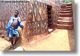 africa, burkina faso, horizontal, kid, stairs, tiebele, photograph