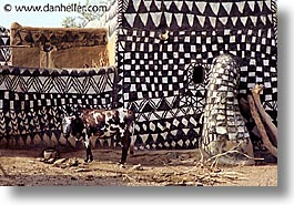 africa, buildings, burkina faso, horizontal, patterned, tiebele, photograph