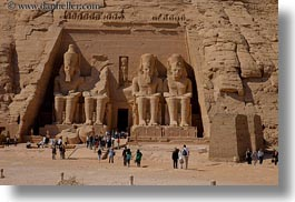 abu simbil, africa, architectural ruins, arts, buildings, egypt, horizontal, materials, sandstone, statues, stones, structures, photograph