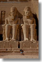 abu simbil, africa, architectural ruins, arts, buildings, egypt, materials, sandstone, statues, stones, structures, vertical, photograph