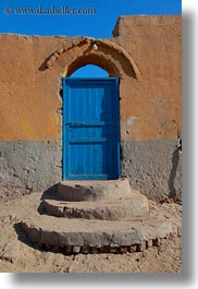 africa, al kab, blues, doors, egypt, mud, vertical, villages, walls, photograph