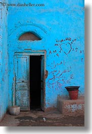 africa, al kab, blues, doors, egypt, pots, vertical, villages, photograph