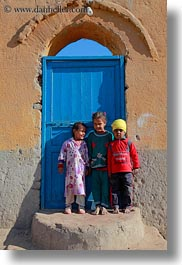 africa, al kab, blues, childrens, doors, egypt, vertical, villages, photograph