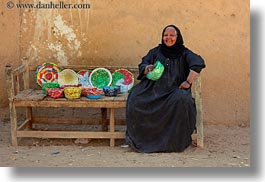 africa, al kab, colorful, egypt, horizontal, old, plates, straws, villages, womens, photograph