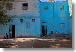 africa, al kab, blues, buildings, clothes, egypt, horizontal, keffiyeh, men, scarves, squatting, villages, photograph