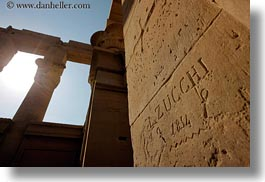 africa, aswan, bas reliefs, egypt, graffiti, horizontal, perspective, philae temple, upview, zuchhi, photograph