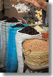africa, aswan, baskets, dried, egypt, fruits, spices, vertical, photograph