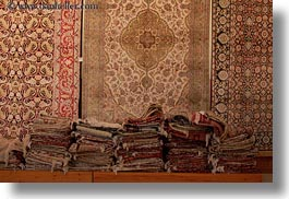 africa, cairo, carpet shop, egypt, horizontal, rugs, stacks, photograph
