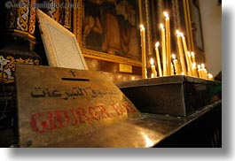 africa, arabic, cairo, candles, coptic, egypt, glow, horizontal, language, lights, text, photograph