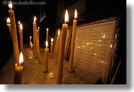 africa, arabic, cairo, candles, coptic, egypt, glow, horizontal, language, lights, style, text, photograph