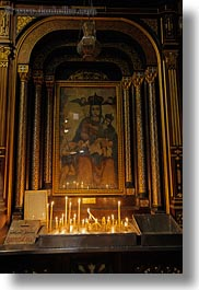 africa, cairo, candles, coptic, egypt, old, paintings, vertical, photograph
