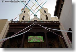 africa, cairo, churches, coptic, egypt, horizontal, ribbons, steeples, photograph