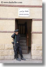 africa, beret, cairo, coptic, egypt, policeman, vertical, photograph