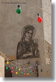 africa, cairo, colored, coptic, egypt, lights, mary, vertical, virgin, photograph