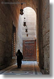 africa, archways, cairo, egypt, hallway, kalawoun mosque, long, mosques, muslim, people, religious, vertical, womens, photograph