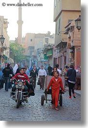 africa, boys, cairo, carts, egypt, girls, motorcycles, old town, pulling, vertical, photograph