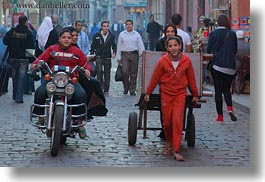 africa, boys, cairo, carts, egypt, girls, horizontal, motorcycles, old town, pulling, photograph