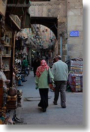 africa, arches, cairo, couples, egypt, old town, vertical, walking, photograph