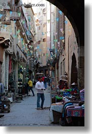 africa, cairo, egypt, flags, market, narrow, old town, streets, vertical, photograph