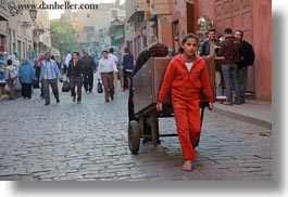 africa, cairo, carts, egypt, girls, horizontal, old town, pulling, photograph