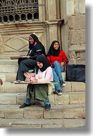 africa, cairo, egypt, girls, old town, stairs, vertical, photograph