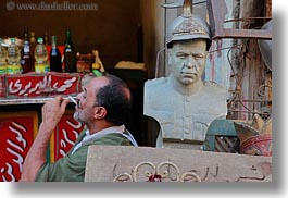 africa, cairo, egypt, horizontal, men, military, old town, smoking, statues, photograph
