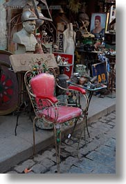 africa, cairo, chairs, egypt, junk, old town, pink, shops, vertical, photograph