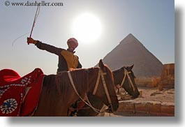 africa, cairo, clothes, egypt, horizontal, horses, keffiyeh, men, people, pyramids, scarves, photograph