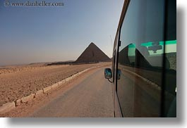 africa, bus, cairo, egypt, horizontal, pyramids, structures, photograph