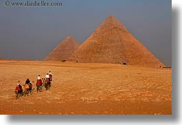 africa, cairo, camels, desert, egypt, horizontal, pyramids, structures, photograph