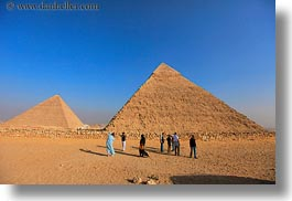 africa, cairo, desert, egypt, horizontal, people, pyramids, structures, photograph