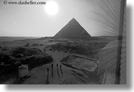 africa, black and white, cairo, egypt, horizontal, pyramids, shadows, structures, walking, photograph