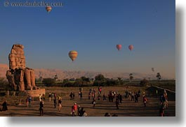 africa, balloons, colossi of memnon, egypt, horizontal, seated, statues, photograph