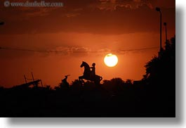 africa, egypt, horizontal, horses, men, statues, sunsets, photograph