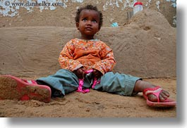 africa, babies, dirt, egypt, horizontal, nubian village, sitting, photograph