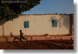 africa, boys, buildings, egypt, horizontal, nubian village, running, photograph