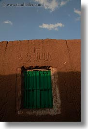 africa, egypt, green, mud, nubian village, sky, vertical, walls, windows, photograph