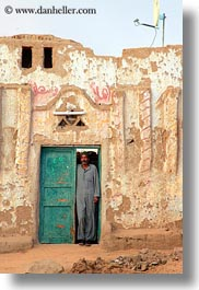 africa, doors, egypt, green, men, nubian village, vertical, photograph