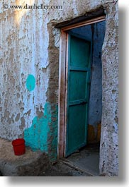 africa, buckets, doors, egypt, nubian village, red, vertical, photograph