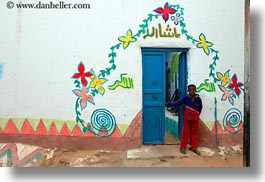 africa, blues, boys, doors, egypt, horizontal, nubian village, paintings, smiling, photograph