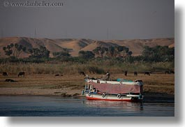 africa, boats, colorful, egypt, ferry, horizontal, mountains, rivers, photograph