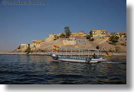 africa, buildings, cliffs, egypt, horizontal, motorboat, rivers, photograph
