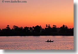 africa, egypt, horizontal, rivers, rowboats, sunsets, photograph
