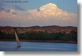 africa, clouds, cumulus, egypt, horizontal, rivers, sailboats, photograph