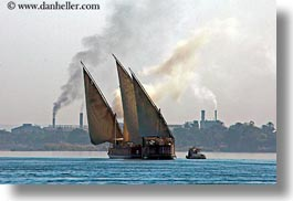 africa, egypt, horizontal, rivers, sailboats, smoke, stacks, photograph