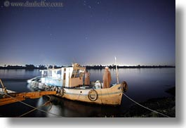 africa, egypt, horizontal, long exposure, rivers, stars, tugboat, photograph