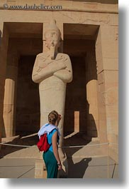 africa, egypt, looking, statues, temple queen hatshepsut, vertical, womens, photograph