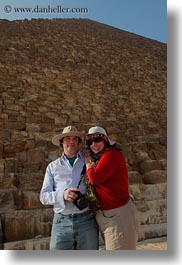 africa, cameras, carla, carla henry, clothes, couples, egypt, emotions, hats, henry, people, pyramids, smiles, sunglasses, tourists, vertical, wt people, photograph