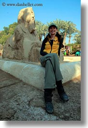 africa, baseball cap, clothes, egypt, emotions, hats, memphis, smiles, sphinx, vertical, victoria, victoria gurthrie, wt people, photograph