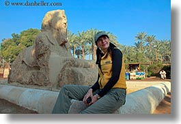 africa, baseball cap, clothes, egypt, emotions, hats, horizontal, memphis, smiles, sphinx, victoria, victoria gurthrie, wt people, photograph